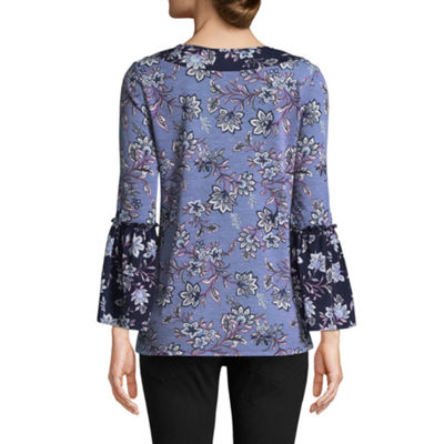 Como Blu 3/4 Sleeve Split Crew Neck Knit Ruffled Blouse