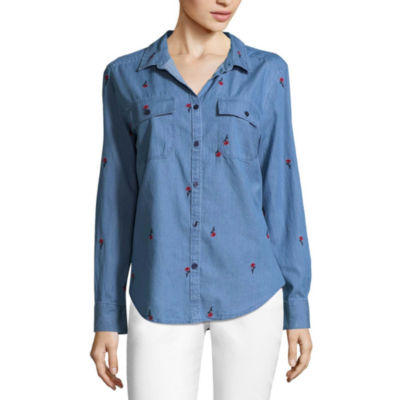Liz Claiborne Long Sleeve Floral Embroidered Button-Front Shirt