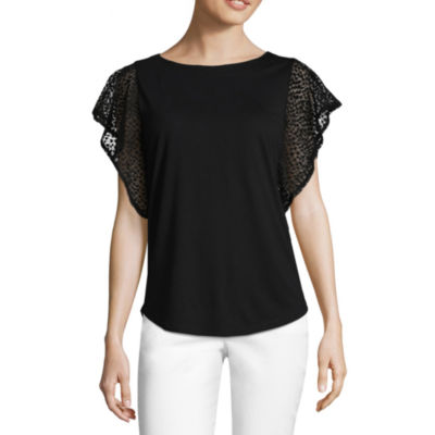 Liz Claiborne Lace Sleeve Round Neck T-Shirt-Womens
