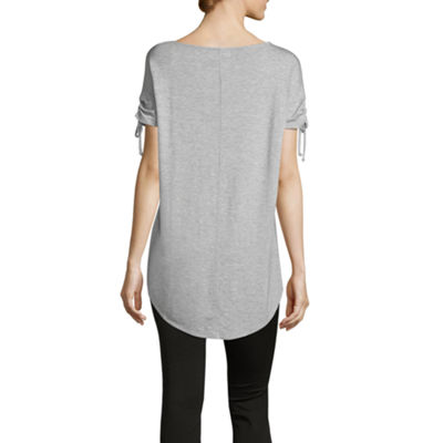Liz Claiborne Short Ruched Sleeve Round Neck T-Shirt-Womens