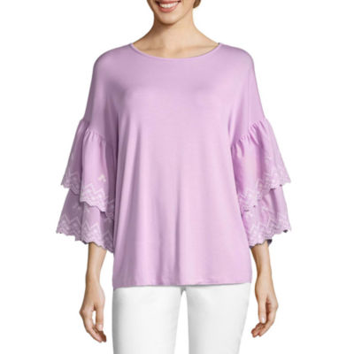 By Artisan Tiered Sleeve Embroidered T-Shirt