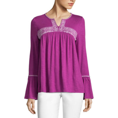 By Artisan Bell Sleeve Embroidered Tunic Top