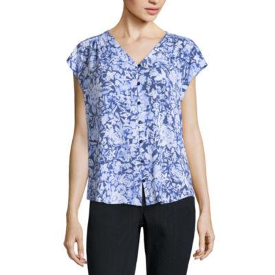 Liz Claiborne Short Sleeve V Neck Woven Floral Blouse