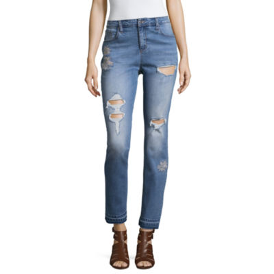 Libby Edelman Embroidered Girlfriend Jeans