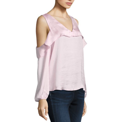 Libby Edelman Long Sleeve Cold Shoulder Ruffle Top