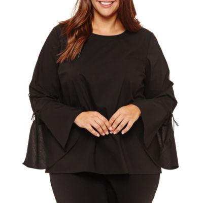 Worthington Long Lace Up Sleeve Woven Blouse - Plus