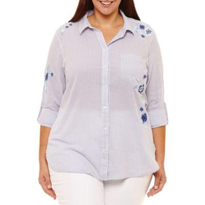 Liz Claiborne Embroidered Boyfriend Shirt- Plus