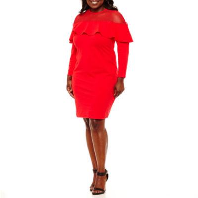 Project Runway Ruffle Top Bodycon Dress - Plus