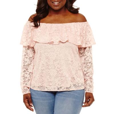 Bold Elements Lace Ruffle Off Shoulder Blouse-Plus