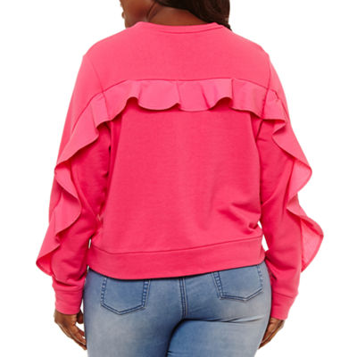 Project Runway Long Ruffle Sleeve Woven Sweatshirt - Plus