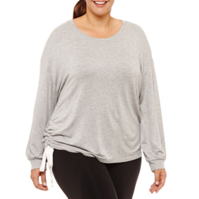 Xersion Long Sleeve Side Ruched Pullover  -  Plus