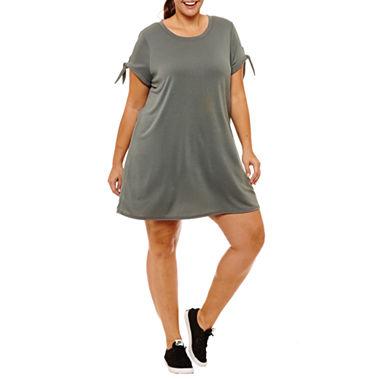 Xersion Short Sleeve Sweater Dress (Balsam Green)