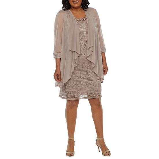 R & M Richards-Plus 3/4 Sleeve Embellished Jacket Dress