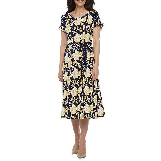 Perceptions Short Sleeve Floral Fit & Flare Dress - Petite