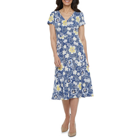 1930s Day Dresses, Afternoon Dresses History Perceptions Short Sleeve Floral Puff Print Fit  Flare Dress - Petite Petite Large  Blue $29.99 AT vintagedancer.com