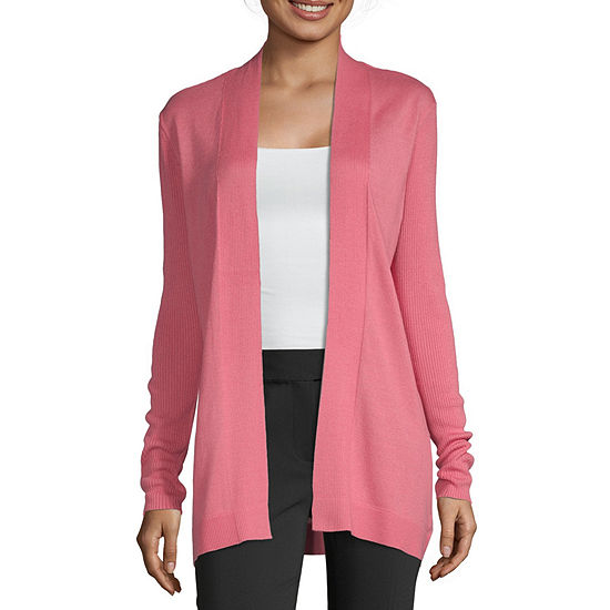Nyc Alliance Womens Long Sleeve Cardigan-Petite