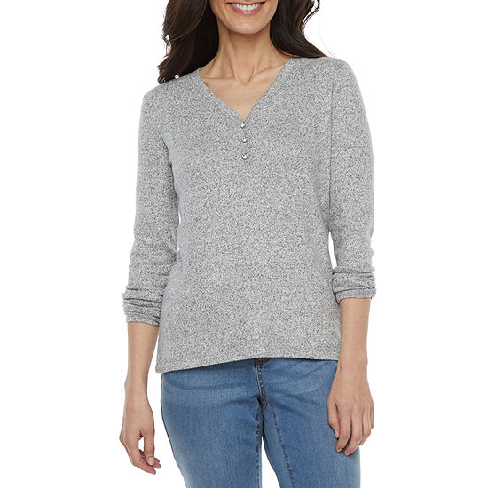Liz Claiborne Womens Henley Neck Long Sleeve Henley Shirt