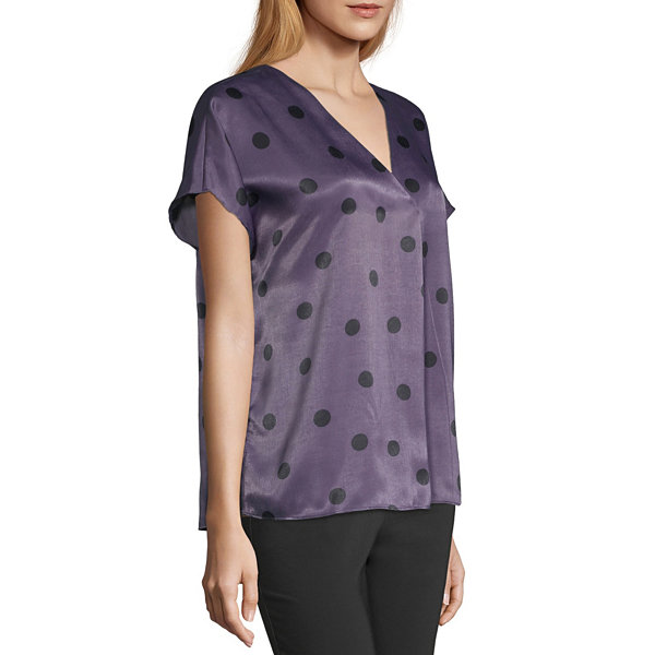 Worthington- Womens V Neck Short Sleeve Blouse