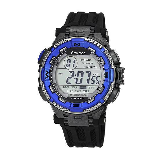 Armitron Pro Sport Mens Chronograph Multi-Function Digital Black Strap Watch-40/8301bluj