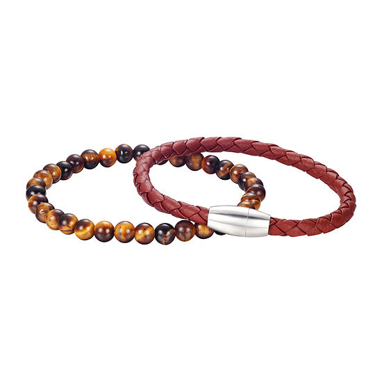 J.P. Army Brown Tiger's Eye Stainless Steel 8 Inch Bead Round Beaded Bracelet