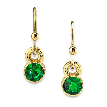 1928 14K Gold Over Brass Drop Earrings, One Size , Green
