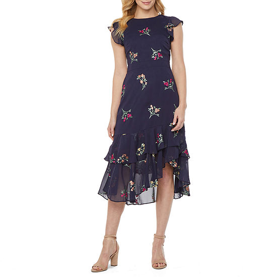 Danny & Nicole Flutter Sleeve Embroidered Floral Fit & Flare Dress