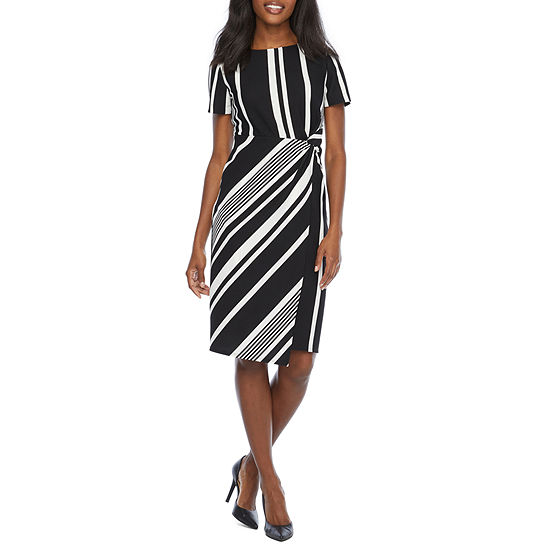 Tiana B Short Sleeve Striped Fit & Flare Dress