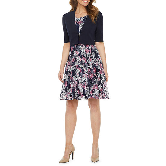 Perceptions Short Sleeve Floral Lace Jacket Dress
