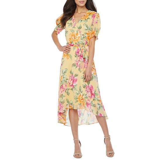 Soho Short Sleeve Floral Fit & Flare Dress