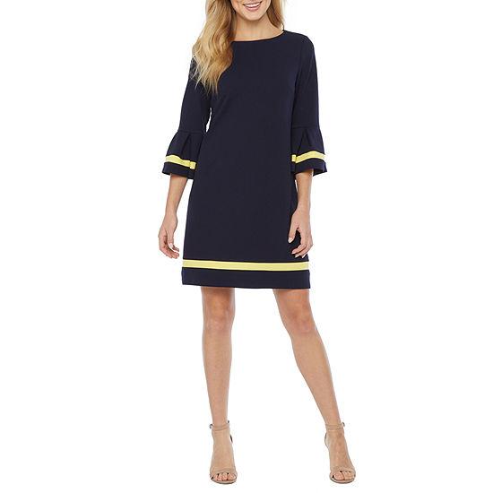 R & K Originals 3/4 Bell Sleeve Bordered Shift Dress
