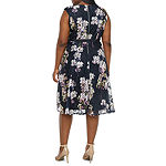 Danny & Nicole Sleeveless Floral Lace Fit & Flare Dress - Plus