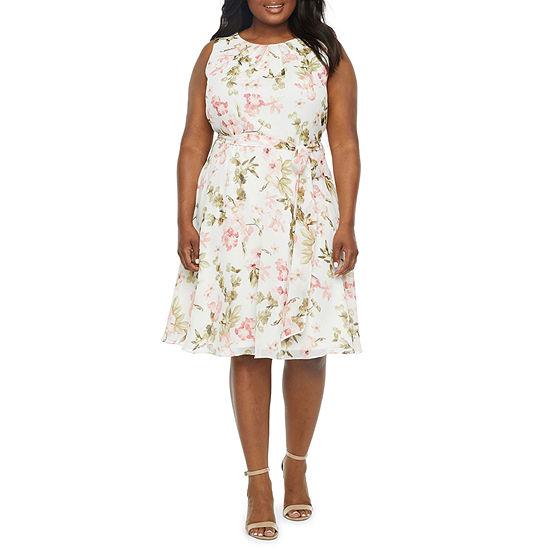 Jessica Howard-Plus Sleeveless Floral Midi Fit & Flare Dress