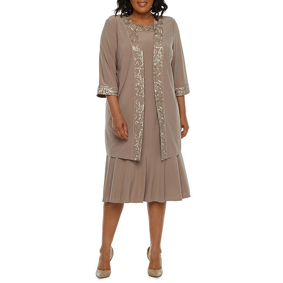 Maya Brooke-Plus 3/4 Sleeve Embroidered Jacket Dress
