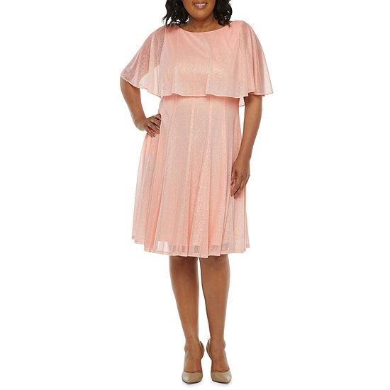 J Taylor Short Sleeve Cape Fit & Flare Dress - Plus