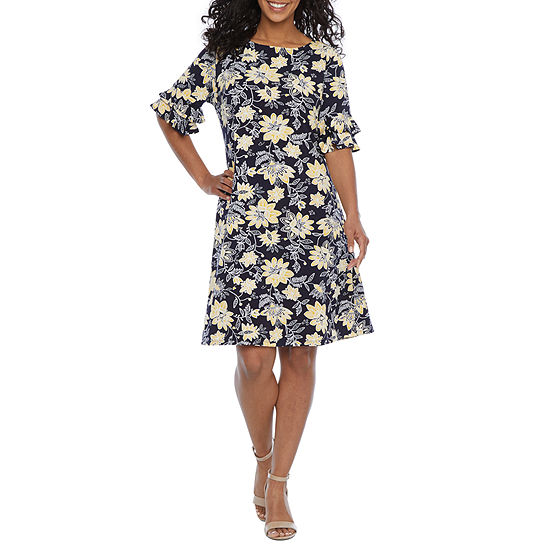 Ronni Nicole-Petite Short Tiered Sleeve Floral Puff Print Shift Dress