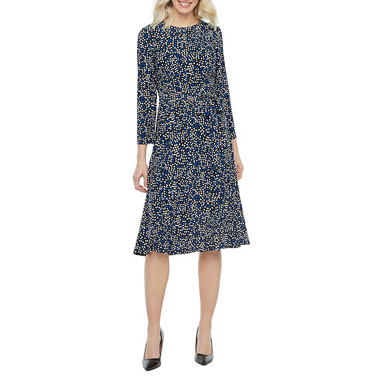 Black Label by Evan-Picone 3/4 Sleeve Dots Midi Fit & Flare Dress