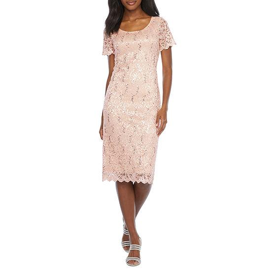 Ronni Nicole Short Sleeve Floral Sequin Lace Sheath Dress