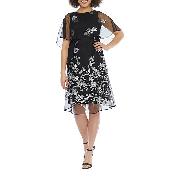 J Taylor Short Sleeve Embroidered Floral Cape Fit & Flare Dress
