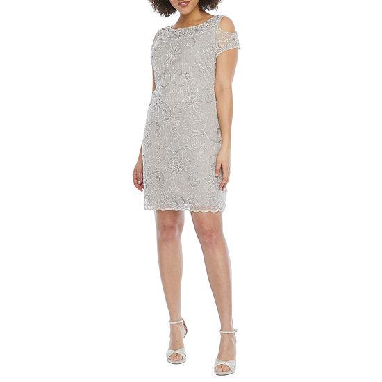 Prelude Short Sleeve Cold Shoulder Beaded Shift Dress