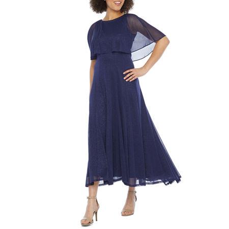 Vintage Cocktail Dresses, Party Dresses, Prom Dresses J Taylor Short Sleeve Cape Evening Gown $62.99 AT vintagedancer.com