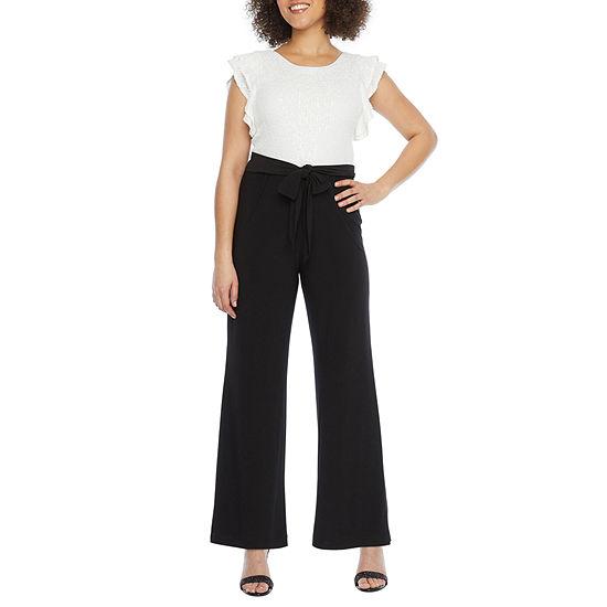 Ronni Nicole Short Sleeve Sequin Top Jumpsuit