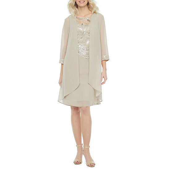 Maya Brooke Sleeveless Embroidered Jacket Dress