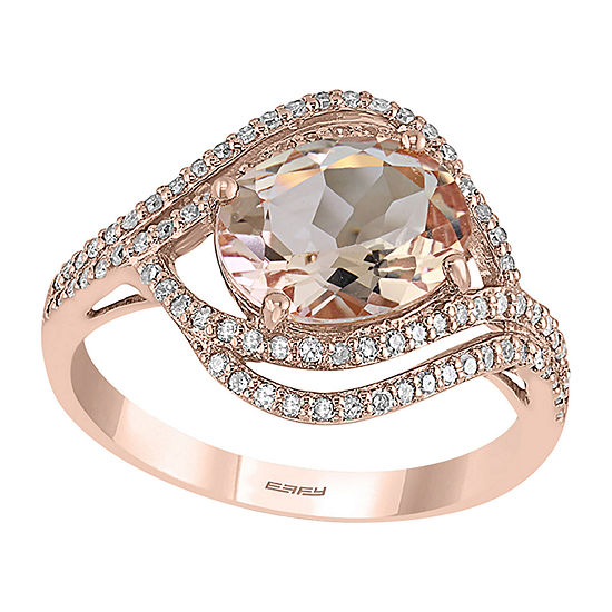 LIMITED QUANTITIES! Effy Final Call Womens 1/3 CT. T.W. Genuine Pink Morganite 14K Rose Gold Cocktail Ring