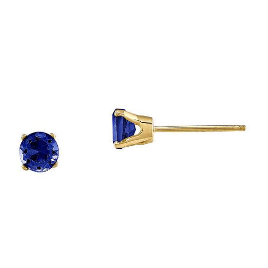 Round Genuine Blue Sapphire 14K Yellow Gold Earrings