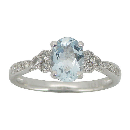 Aquamarine & Lab-Created White Sapphire Vintage-Style Ring Sterling Silver