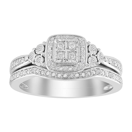 Womens 1/8 CT. T.W. Genuine White Diamond 10K White Gold Bridal Set
