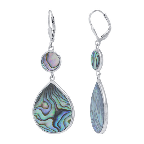 Genuine Multi Color Abalone Sterling Silver Pear Drop Earrings