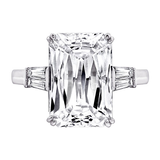 DiamonArt® Womens White Cubic Zirconia Sterling Silver Rectangular Engagement Ring