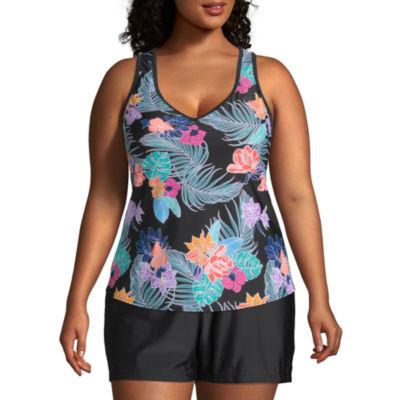 Zeroxposur Tropical Tankini Swimsuit Top Plus