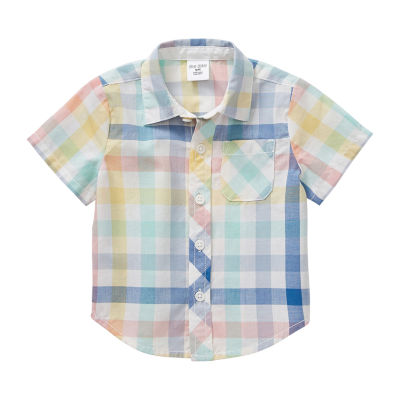 Okie Dokie Baby Boys Short Sleeve Button-Front Shirt